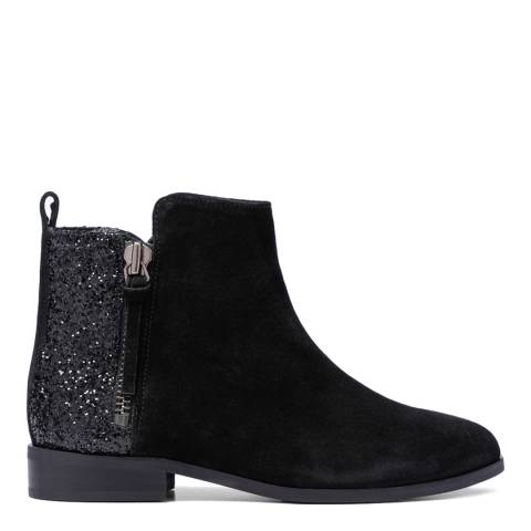 French Sole Black Glitter Suede Charlotte Ankle Boots