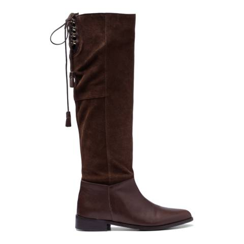 French Sole Brown Leather/Suede Jessica Calf Boots