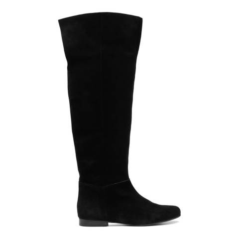 French Sole Black Suede Pandora Calf Boots