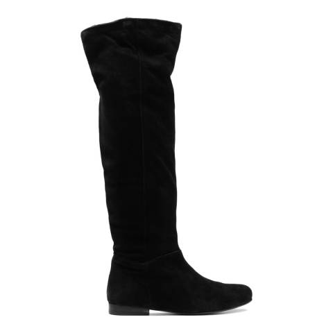 French Sole Black Suede Pandora Faux Fur Calf Boots