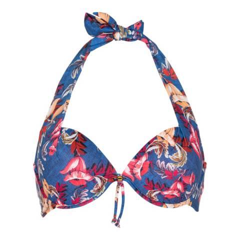 LingaDore Denim Blue Floral Print Halterneck Bikini Top