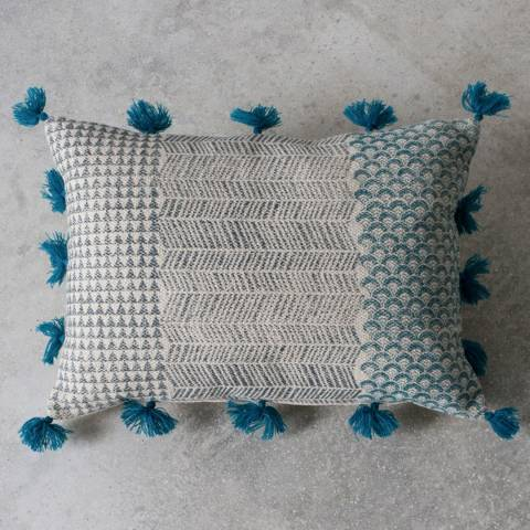 Gallery Teal Advika Block Print Cushion 50x35cm
