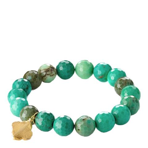 Liv Oliver Gold Plated Green Charm Bracelet
