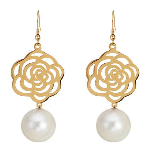 White label by Liv Oliver Gold Plated White Flower Earrings