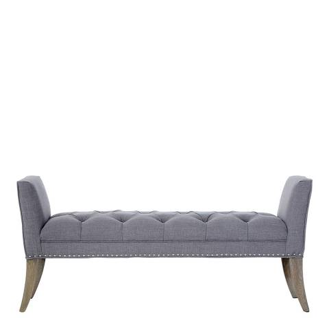 Premier Housewares Kensington Townhouse Bench, Grey/Silver Studs, Oak Wood Legs