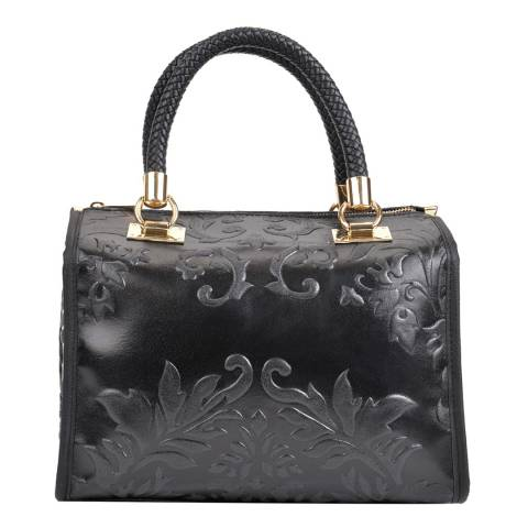 Sofia Cardoni Black Leather Top Handle Bag
