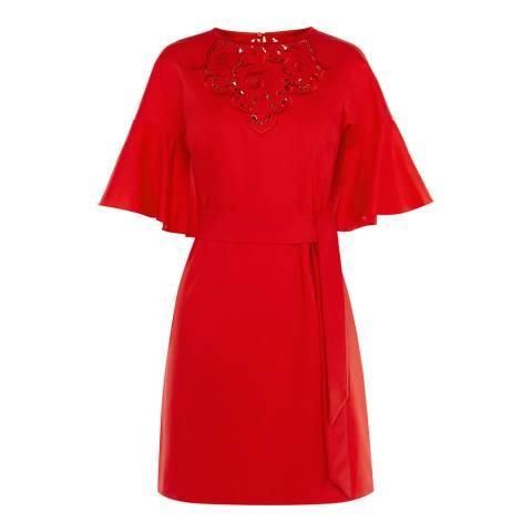 Karen Millen Red Embroidered Tie Waist Dress