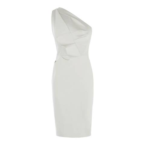 Karen Millen Pale Grey One-Shoulder Pencil Dress