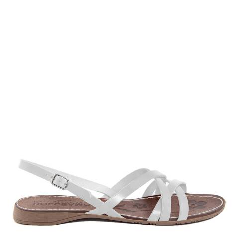 Dolce Amore White Leather Double Cross Over Strap Sandals