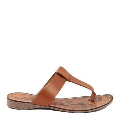 Dolce Amore Tan Leather Toe Thong Sandals