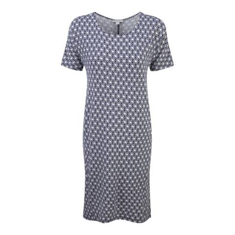 Pure Collection Navy Tile Print Jersey Dress