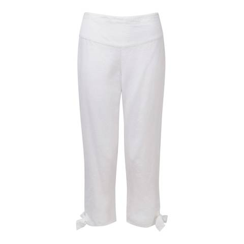 Pure Collection White Tie Hem Linen Trousers
