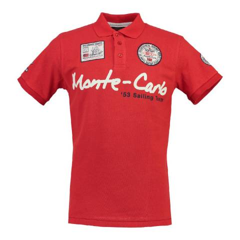 Geographical Norway Men's Red Komen Short Sleeve Polo