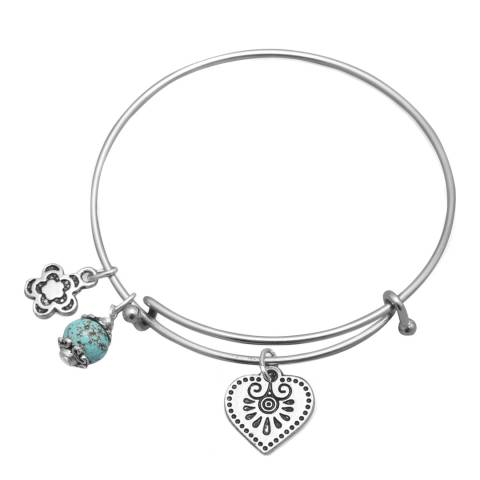 Alexa by Liv Oliver Silver Love Turquoise Charm Bracelet
