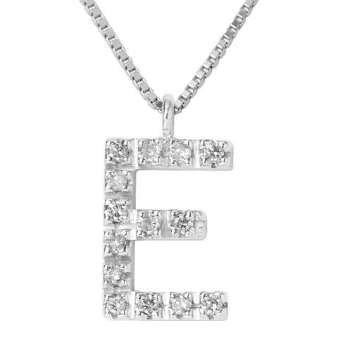 Only You Silver/Diamond 'E' Letter Neckalce