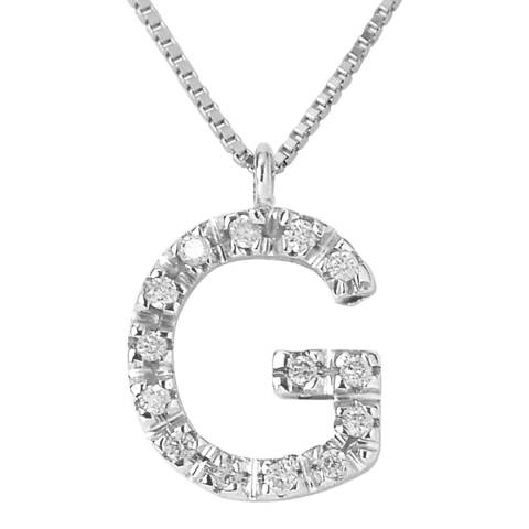 Only You Silver/Diamond 'G' Letter Neckalce