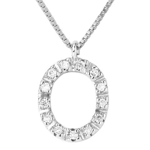 Only You Silver/Diamond 'O' Letter Neckalce