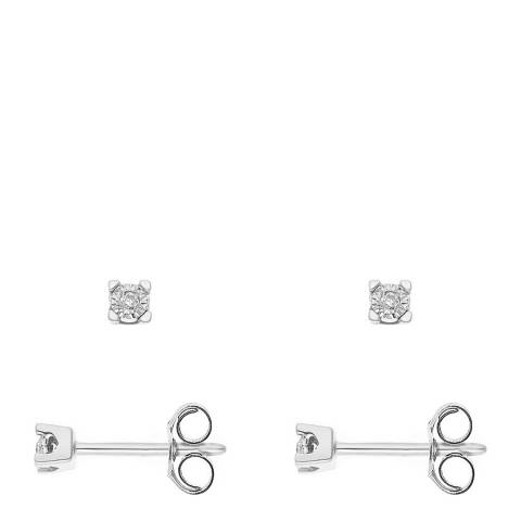 Only You Silver Diamond Stud Earrings 0.02 Cts