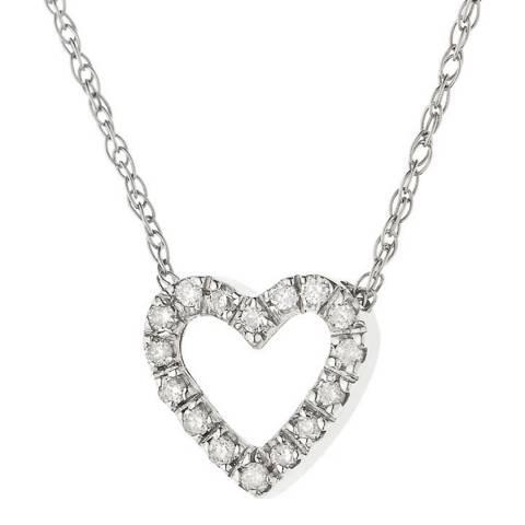Pretty Solos Silver/Diamond Love Heart Necklace
