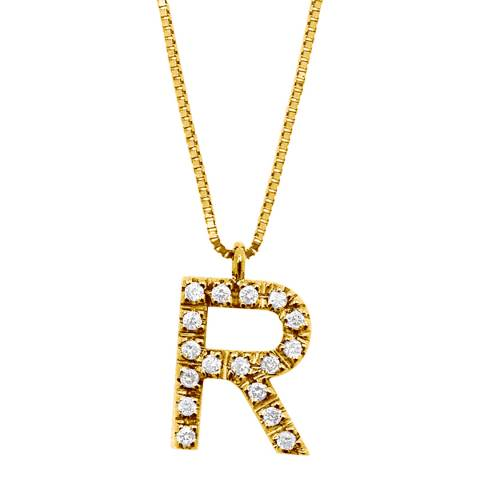 Only You Gold/Diamond 'R' Letter Necklace