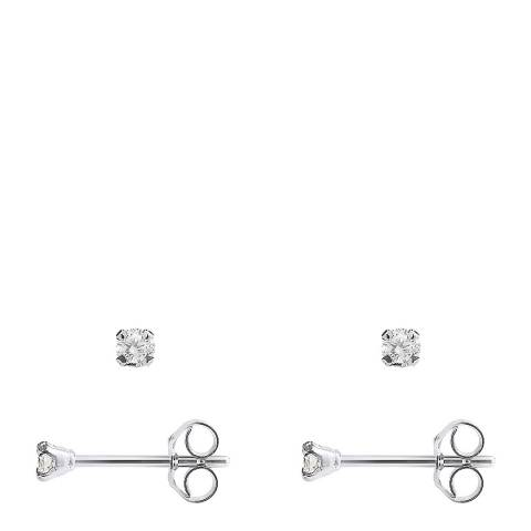 Only You Silver Diamond Stud Earrings 0.10 Cts