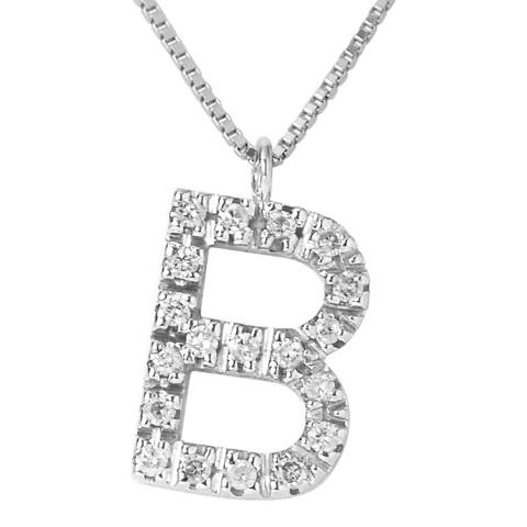 Only You Silver/Diamond 'B' Letter Necklace