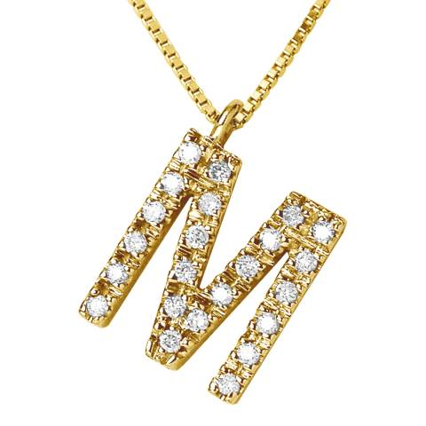 Only You Gold/Diamond 'M' Letter Necklace