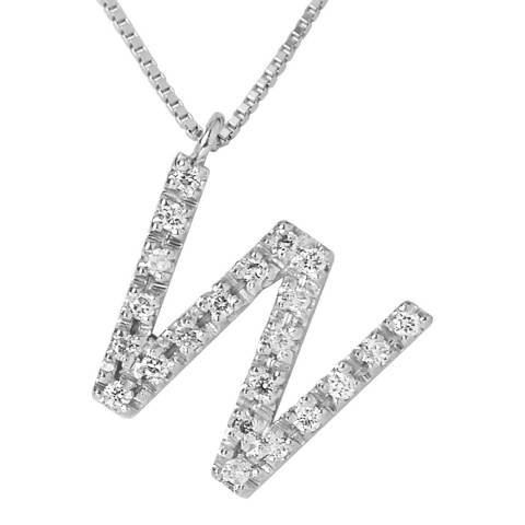 Only You Silver/Diamond 'W' Letter Necklace
