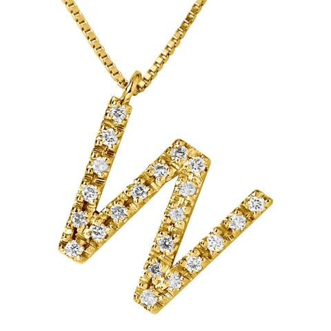 Only You Gold/Diamond 'W' Letter Necklace