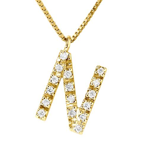 Pretty Solos Gold/Diamond 'N' Letter Necklace