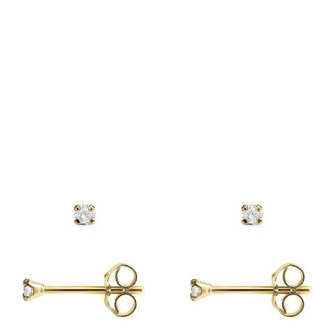 Pretty Solos Gold/Diamond Stud Earrings