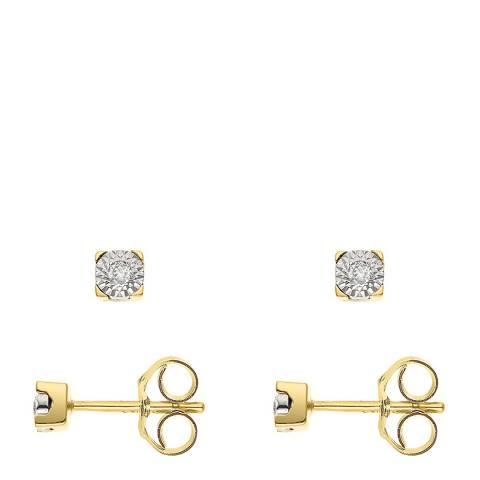 Pretty Solos Gold/Diamond Stud Earrings