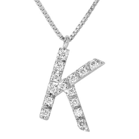 Only You Silver/Diamond 'K' Letter Necklace