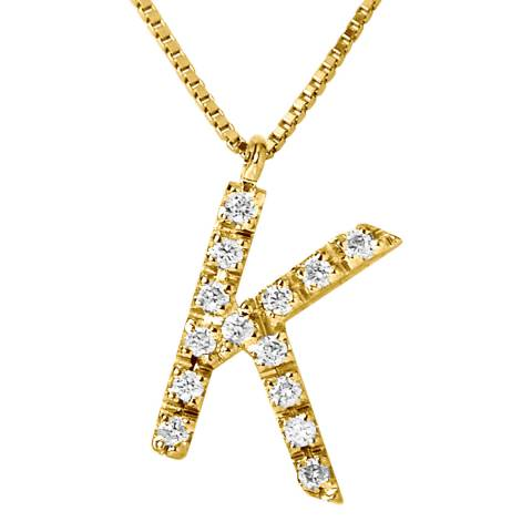 Only You Gold/Diamond 'K' Letter Necklace