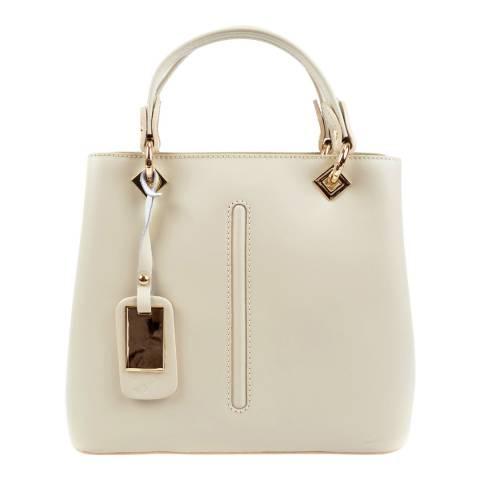 Roberta M Beige Leather Top Handle Bag