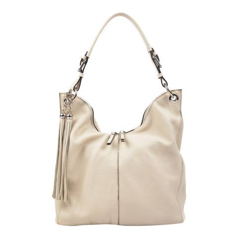 Carla Ferreri Beige Leather Hobo Bag