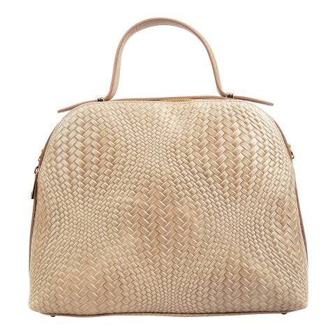 Isabella Rhea Beige Leather Top Handle Bag