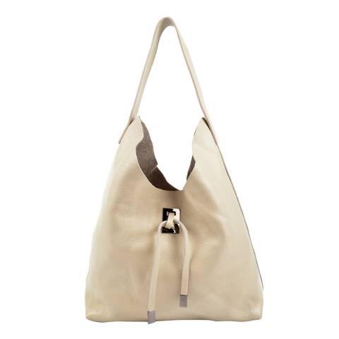 Roberta M Beige Leather Hobo Bag