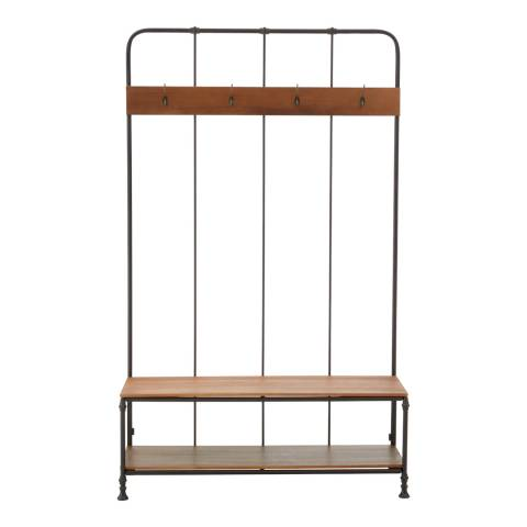 Premier Housewares New Foundry Bench, With Coat Rack, 4 Coat Hooks, Fir Wood / Metal