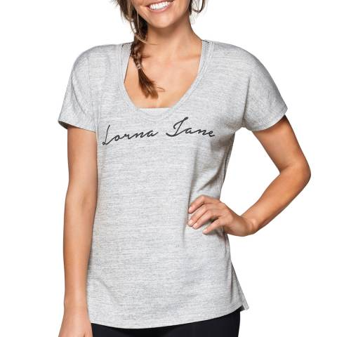 Lorna Jane Grey Relaxed Short  Sleeve Knit Top