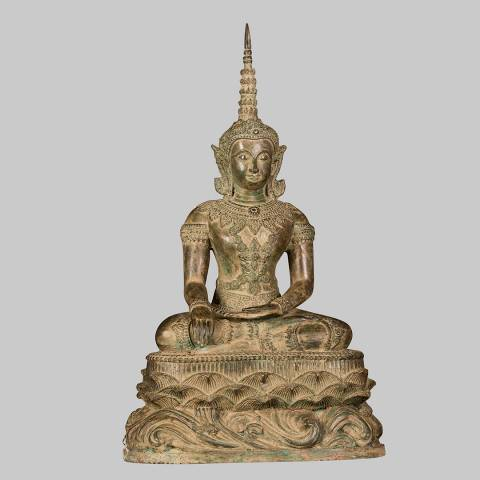 Eastern Treasures Antique 19th Century Chiang Mai Style Enlightenment Buddha Statue