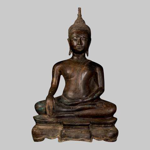 Eastern Treasures 19th Century Antique Thai Enlightenment Buddha Statue