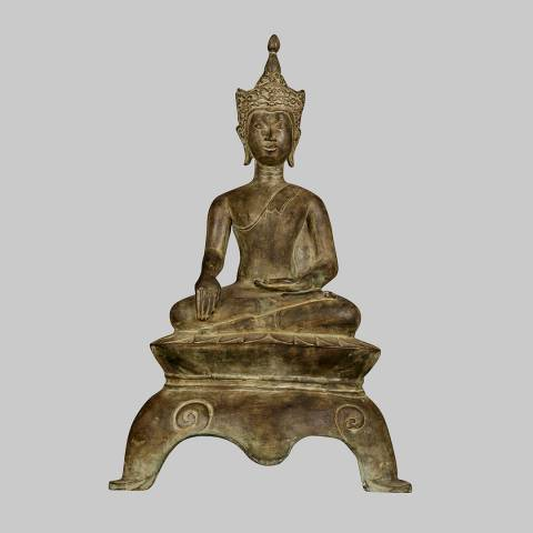 Eastern Treasures 19th Century Antique Thai Chiang Mai Enlightenment Buddha Statue