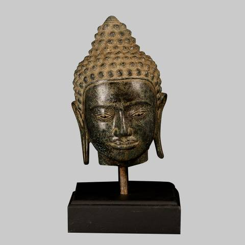 Eastern Treasures Antique Thai Style Bronze Buddha Head