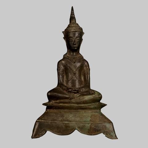 Eastern Treasures Antique 19th Century Ayutthaya Meditation Buddha Statue