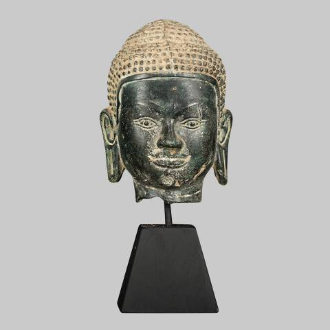 Eastern Treasures Antique Thai Style Bronze Buddha Head