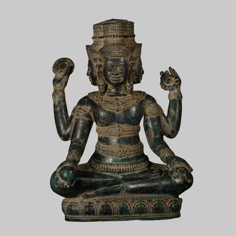 Eastern Treasures 19th Century Antique Bronze Brahma Hindu God Creation