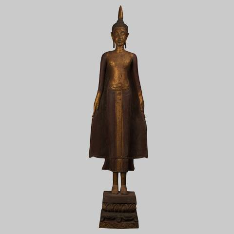 Eastern Treasures Antique Khmer Style Wood Standing Varada Charity Buddha Statue