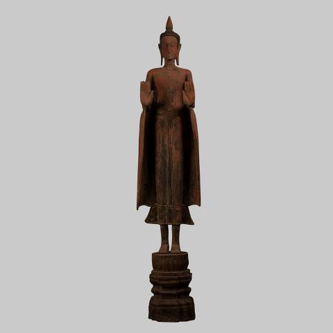 Eastern Treasures Antique Khmer Style Wood Standing Protection Monday Buddha Statue