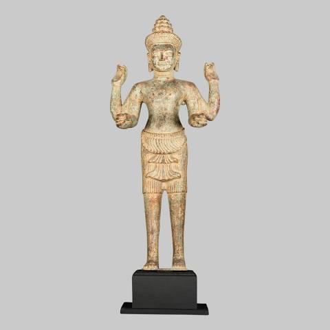 Eastern Treasures 19th Century Antique Bronze Vishnu Protector & Preserver